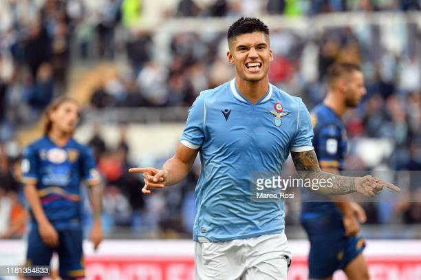 Joaquin Correa of SS Lazio celebrates a openig goal during the Serie A match between SS Lazio and US Lecce at Stadio Olimpico on November 10 2019 in...