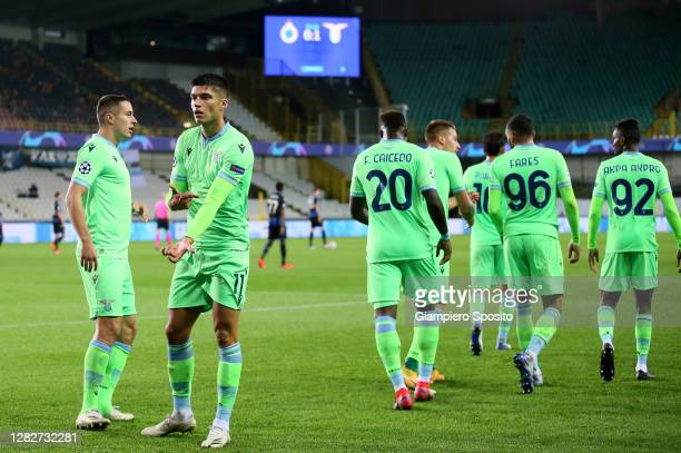 Joaquin Correa of SS Lazio celebrates a opening goal with his team mates during the UEFA Champions League Group F stage match between Club Brugge KV...