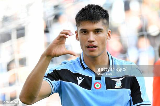 Joaquin Correa of SS Lazio celebrates a second goal during the Serie A match between SS Lazio and Bologna FC at Stadio Olimpico on February 29 2020...