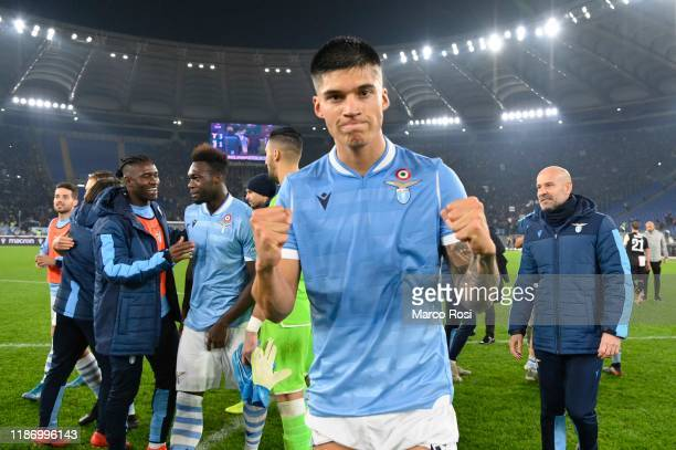 Joaquin Correa of SS Lazio celebrates a winner game after the Serie A match between SS Lazio and Juventus at Stadio Olimpico on December 7 2019 in...