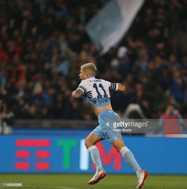 Joaquin Correa of SS Lazio celebrates after scoring during the TIM Cup Final match between Atalanta BC and SS Lazio at Stadio Olimpico on May 15 2019...