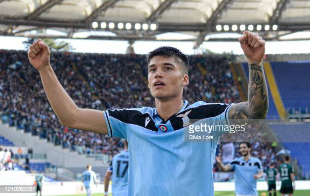 Joaquin Correa of SS Lazio celebrates after scoring goal 20 during the Serie A match between SS Lazio and Bologna FC at Stadio Olimpico on February...