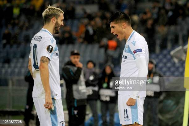 Joaquin Correa of SS Lazio celebrates after scoring the opening goal with his teammate during the UEFA Europa League Group H match between SS Lazio...