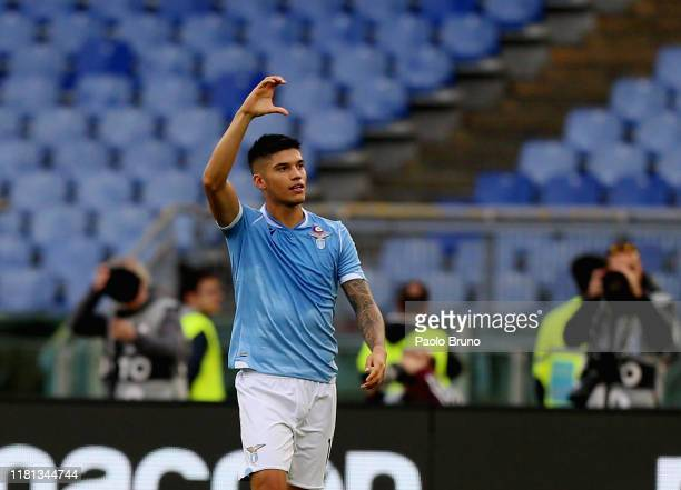 Joaquin Correa of SS Lazio celebrates after scoring the opening goal during the Serie A match between SS Lazio and US Lecce at Stadio Olimpico on...