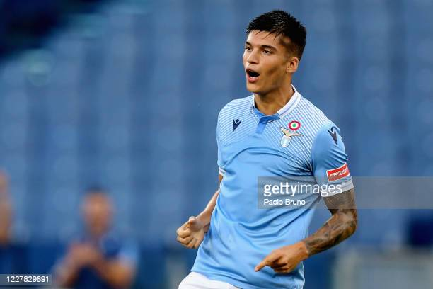 Joaquin Correa of SS Lazio celebrates after scoring the opening goal during the Serie A match between SS Lazio and Brescia Calcio at Stadio Olimpico...