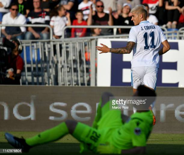 Joaquin Correa of SS Lazio celebrates after scoring the second goal of his team during the Serie A match between Cagliari and SS Lazio at Sardegna...