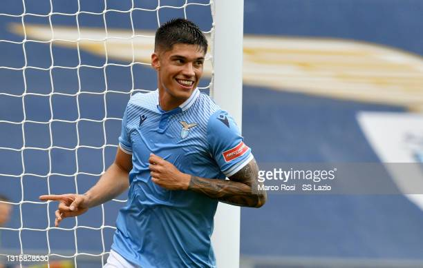 Joaquin Correa of SS Lazio celebrates the opening goal during the Serie A match between SS Lazio and Genoa CFC at Stadio Olimpico on May 02, 2021 in...
