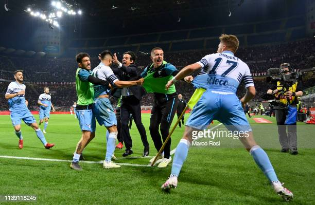 Joaquin Correa of SS Lazio celebrates the opening goal with his team mates and their head coach Simone Inzaghi during the TIM Cup match between AC...