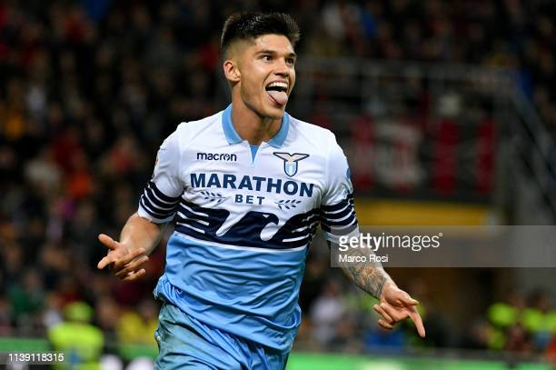 Joaquin Correa of SS Lazio celebrates the opening goal with his team mates during the TIM Cup match between AC Milan and SS Lazio at Stadio Giuseppe...