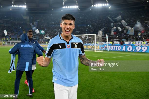 Joaquin Correa of SS Lazio celebrates winning after the Serie A match between SS Lazio and FC Internazionale at Stadio Olimpico on February 16 2020...