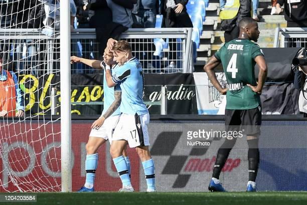 Joaquin Correa of SS Lazio celebrates with Ciro Immobile of SS Lazio scoring second goal during the Serie A match between Lazio and Bologna at Stadio...