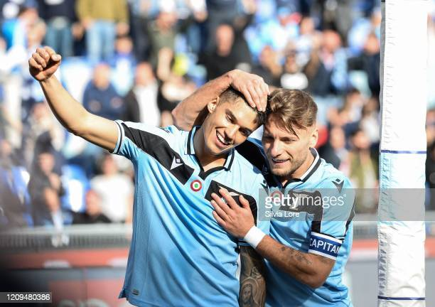 Joaquin Correa of SS Lazio celebrates with Ciro Immobile of SS Lazio after scoring goal 20 during the Serie A match between SS Lazio and Bologna FC...