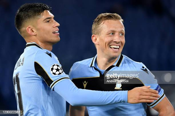 Joaquin Correa of SS Lazio celebrates with Lucas Leiva Pezzini after scoring the goal of 1-0 during the Champions League Group Stage F football match...