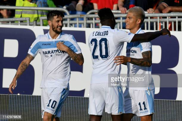 Joaquin Correa of SS Lazio celebrates with teammates after scoring the second goal of his team during the Serie A match between Cagliari and SS Lazio...