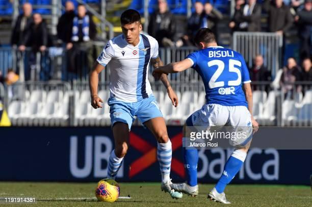 Joaquin Correa of SS Lazio compete for the ball with Romulo Of Brescia Calcio during the Serie A match between Brescia Calcio and SS Lazio at Stadio...
