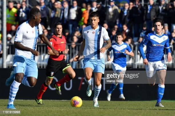 Joaquin Correa of SS Lazio compete for the ball with Sandro Tonali of Brescia Calcio during the Serie A match between Brescia Calcio and SS Lazio at...