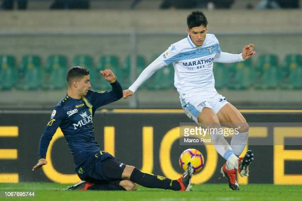 Joaquin Correa of SS Lazio competes for the ball with Ivan Radovanovic of Chievo Verona during the Serie A match between Chievo Verona and SS Lazio...