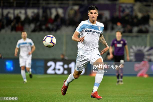 Joaquin Correa of SS lazio in action during the Serie A match between ACF Fiorentina and SS Lazio at Stadio Artemio Franchi on March 10, 2019 in...