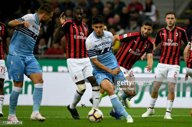 Joaquin Correa of SS lazio in action during the Serie A match between AC Milan and SS Lazio at Stadio Giuseppe Meazza on April 13 2019 in Milan Italy