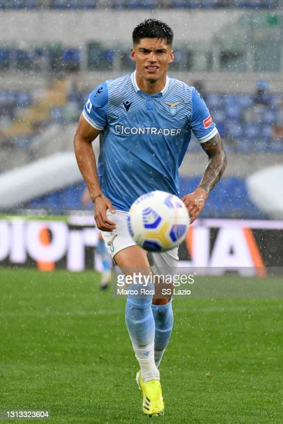 Joaquin Correa of SS Lazio in action during the Serie A match between SS Lazio and Benevento Calcio at Stadio Olimpico on April 18, 2021 in Rome,...