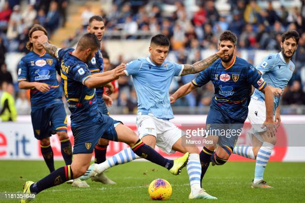 Joaquin Correa of SS Lazio scores a openig goal during the Serie A match between SS Lazio and US Lecce at Stadio Olimpico on November 10 2019 in Rome...