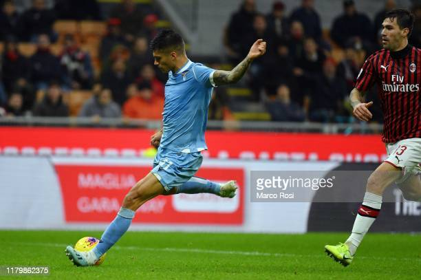 Joaquin Correa of SS lazio scores a second goal during the Serie A match between AC Milan and SS Lazio at Stadio Giuseppe Meazza on November 3 2019...