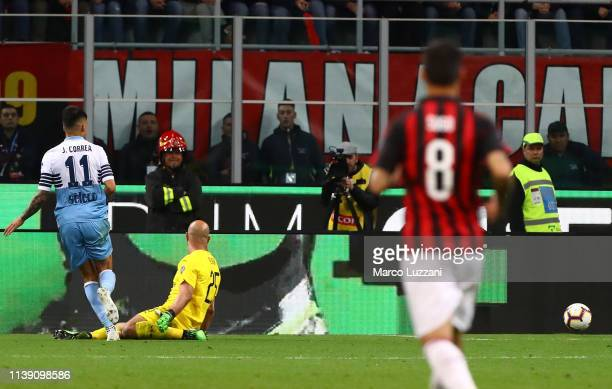 Joaquin Correa of SS Lazio scores the opening goal during the TIM Cup match between AC Milan and SS Lazio at Stadio Giuseppe Meazza on April 24 2019...