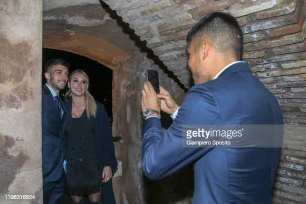 Joaquin Correa of SS Lazio takes a picture as his teammate Danilo Cataldi and his wife Elisa during the celebrations for the 120th Anniversary of the...