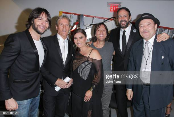 Joaquin Cortes Michael Bolton Olga Tanon Hernaldo Zuniga Juan Luis Guerra and Ruben Blades pose backstage at the Latin Songwriters Hall of Fame Gala...