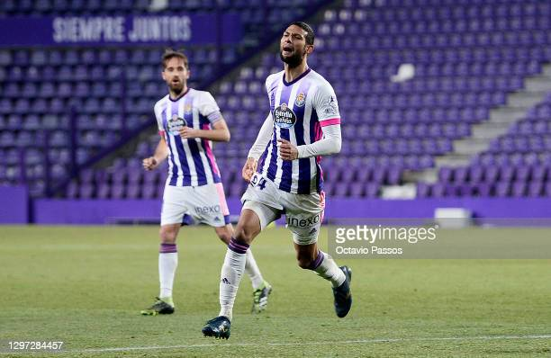 Joaquin Fernandez of Real Valladolid celebrates after scoring their side's second goal during the La Liga Santander match between Real Valladolid CF...
