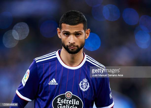 Joaquin Fernandez of Real Valladolid CF reacts during the Liga match between Real Sociedad and Real Valladolid CF at Estadio Anoeta on February 28...
