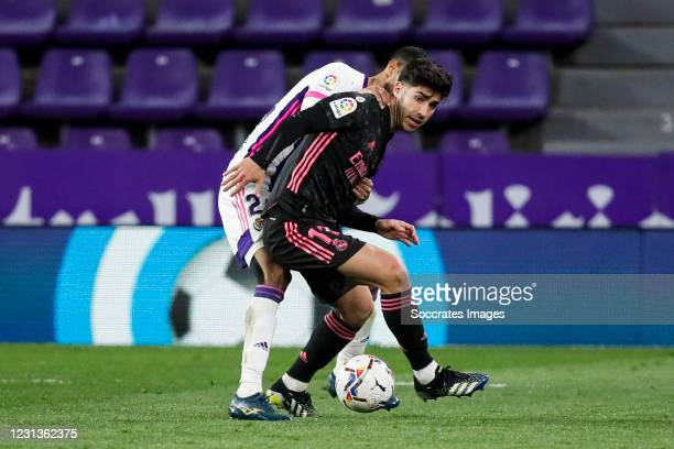 Joaquin Fernandez of Real Valladolid, Marco Asensio of Real Madrid during the La Liga Santander match between Real Valladolid v Real Madrid at the...