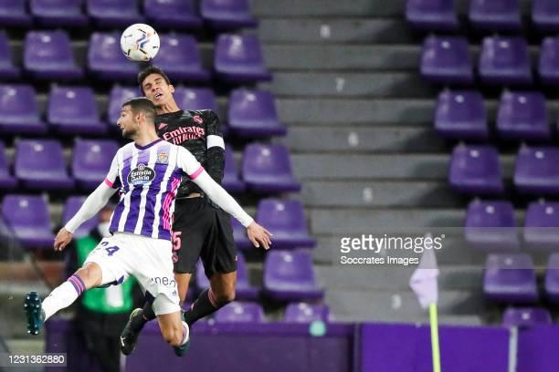 Joaquin Fernandez of Real Valladolid, Raphael Varane of Real Madrid during the La Liga Santander match between Real Valladolid v Real Madrid at the...