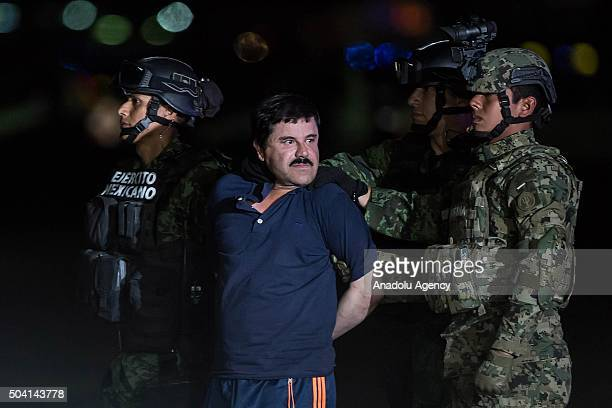 Joaquin Guzman Loera also known as El Chapo is transported to Maximum Security Prison of El Altiplano in Mexico City Mexico on January 08 2016 Guzman...