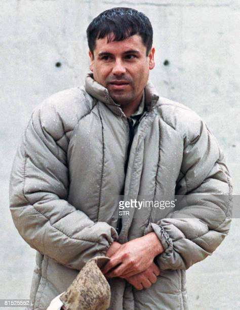 Joaquin Guzman Loera Known as 'El Chapo' is pictured on July 10 1993 at La Palma prison in Almoloya of Juarez Mexico after being apprehended by the...