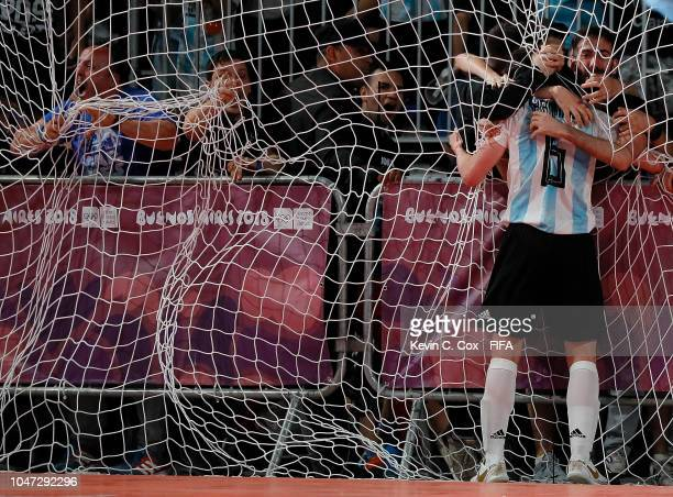 Joaquin Hernandez of Argentina reacts after scoring the equalizer against Egypt in the Men's Group A match between Argentina and Egypt during the...