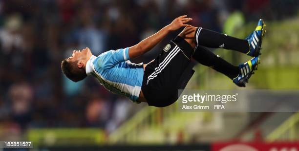 Joaquin Ibanez of Argentina celebrates his team's first goal during the FIFA U-17 World Cup UAE 2013 Group E match between Argentina and Canada at Al...