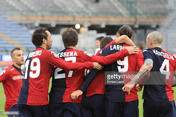 Joaquin Larrivey of Cagliari celebrating the goal 11 during the Serie A match between Cagliari Calcio and US Lecce at Stadio Sant'Elia on February 26...