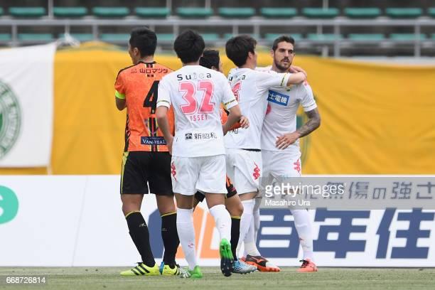 Joaquin Larrivey of JEF United Chiba celebrates scoring the opening goal with his team mates during the J.League J2 match between Renofa Yamaguchi...