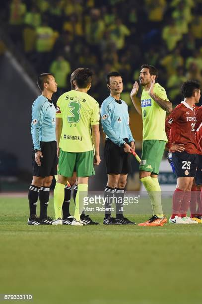 Joaquin Larrivey of JEF United Chiba protests to the match officials after the JLeague J1 Promotion PlayOff semi final match between Nagoya Grampus...