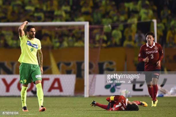 Joaquin Larrivey of JEF United Chiba shows frustration after fouling on Yuki Kobayashi of Nagoya Grampus during the JLeague J1 Promotion PlayOff semi...