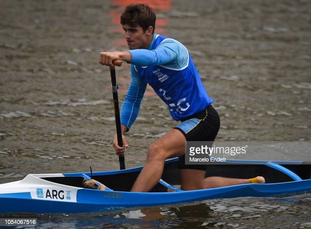 Joaquin Lukac of Argentina competes in the Men Canoe Head to Head Sprint during day 6 of Buenos Aires Youth Olympic Games 2018 at Urban Park Puerto...
