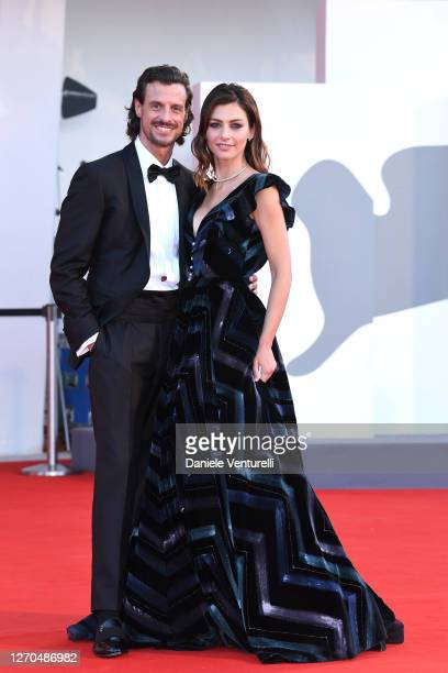 """Joaquin Morodo and Laura Barth walk the red carpet ahead of the movie """"Amants"""" at the 77th Venice Film Festival at on September 03, 2020 in Venice,..."""