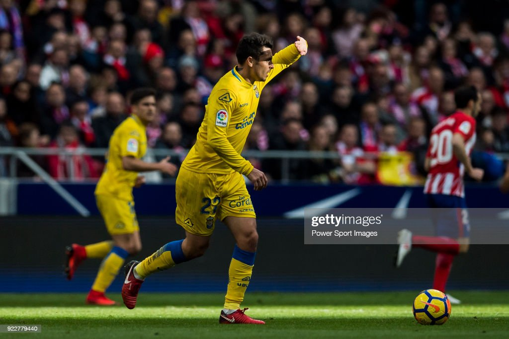 Joaquin Navarro Jimenez, Ximo, of UD Las Palmas shields his eyes from the sun while running with the ball during the La Liga 2017-18 match between Atletico de Madrid and UD Las Palmas at Wanda Metropolitano on January 28 2018 in Madrid, Spain.