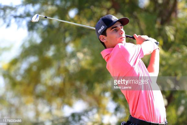 Joaquin Niemann hits off the fifth tee during the second round of the Shriners Hospitals for Children Open at TPC Summerlin on October 04 2019 in Las...