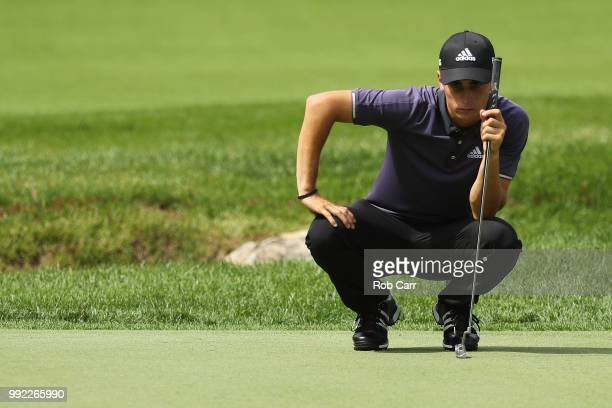 Joaquin Niemann lines up his putt on the during round one of A Military Tribute At The Greenbrier held at the Old White TPC course on July 5 2018 in...