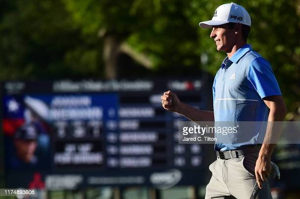 Joaquin Niemann of Chile celebrates after winning A Military Tribute At The Greenbrier held at the Old White TPC course on September 15 2019 in White...