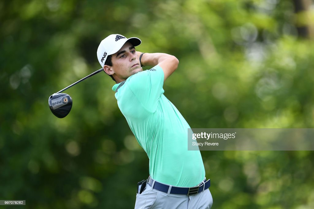 Joaquin Niemann of Chile hits his tee shot on the 15th hole during the first round of the John Deere Classic at TPC Deere Run on July 12, 2018 in Silvis, Illinois.