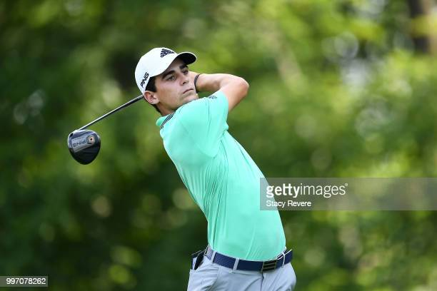 Joaquin Niemann of Chile hits his tee shot on the 15th hole during the first round of the John Deere Classic at TPC Deere Run on July 12 2018 in...