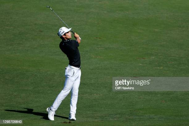 Joaquin Niemann of Chile plays a shot on the 16th hole during the final round of the Sentry Tournament Of Champions at the Kapalua Plantation Course...